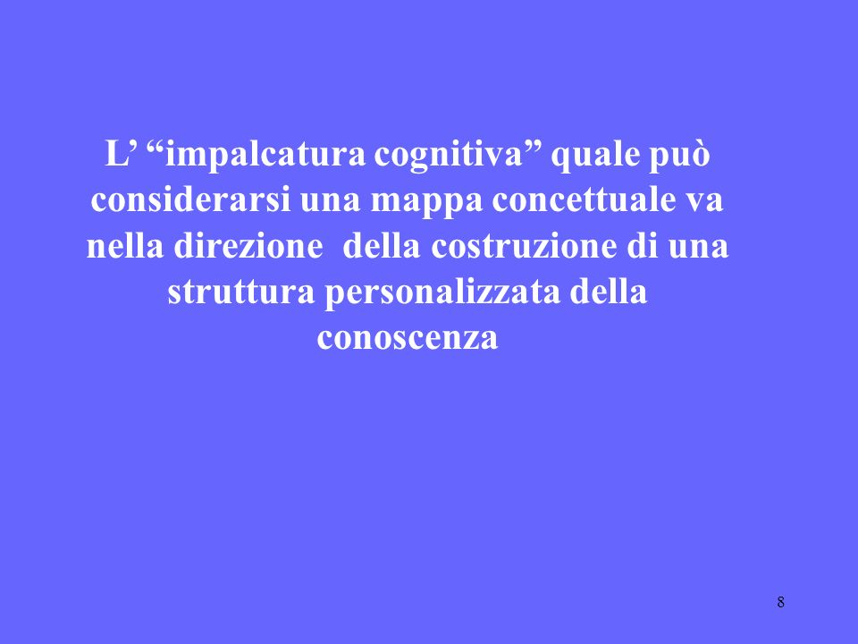 L' impalcatura cognitiva quale può considerarsi una mappa concettuale va nella direzione della costruzione di una struttura personalizzata della conoscenza