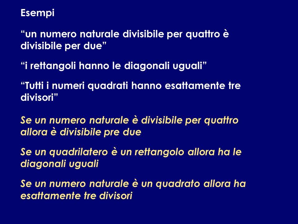 Esempi un numero naturale divisibile per quattro è divisibile per due i rettangoli hanno le diagonali uguali