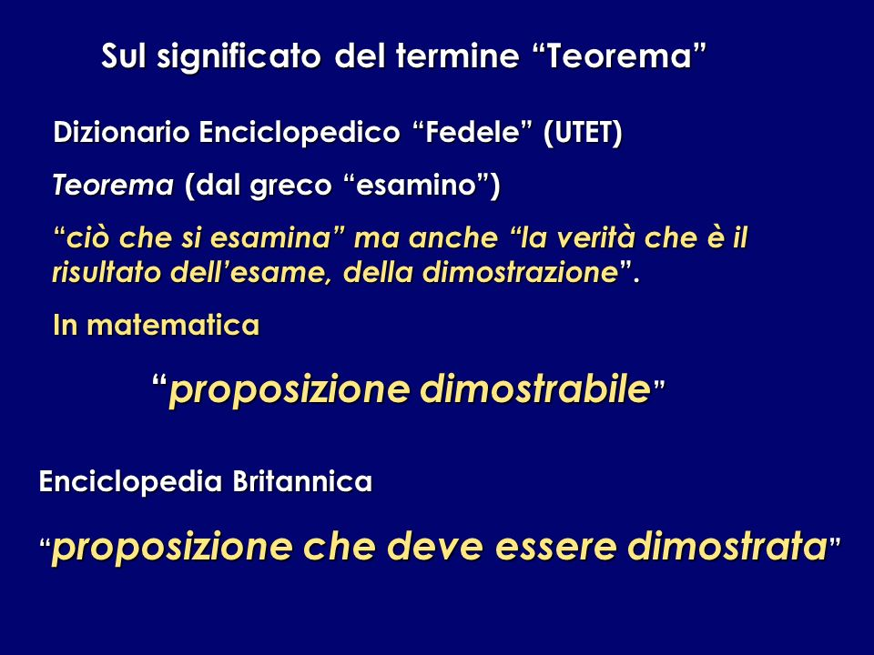 Sul significato del termine Teorema proposizione dimostrabile