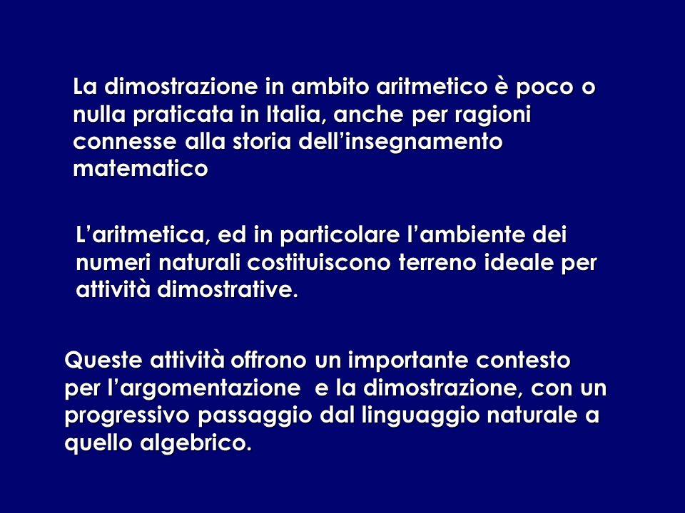 La dimostrazione in ambito aritmetico è poco o nulla praticata in Italia, anche per ragioni connesse alla storia dell'insegnamento matematico