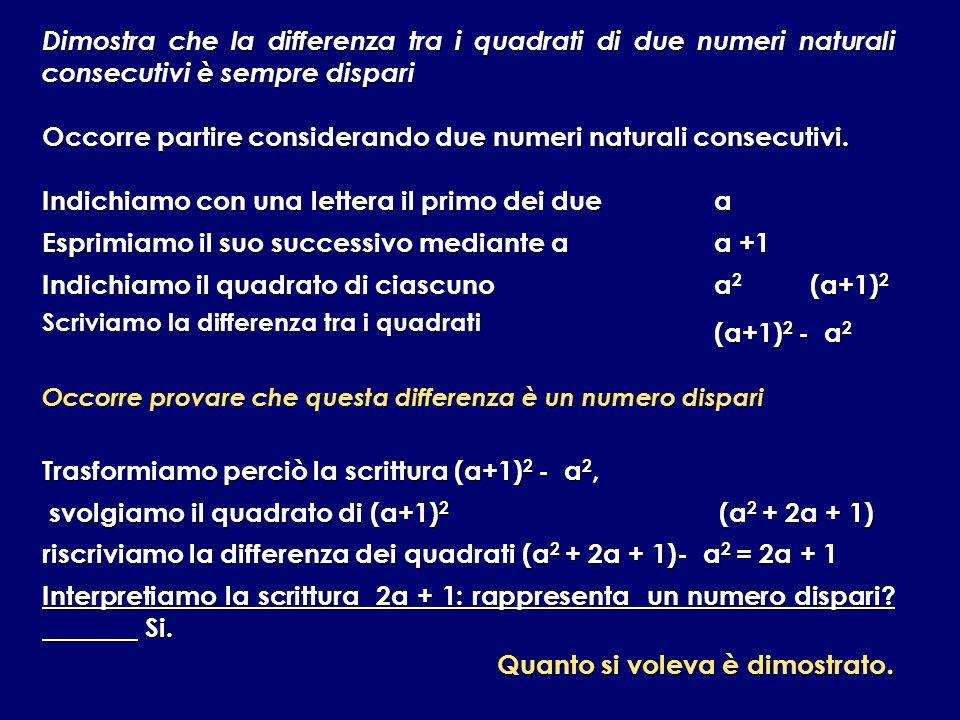 Scriviamo la differenza tra i quadrati (a+1)2 - a2
