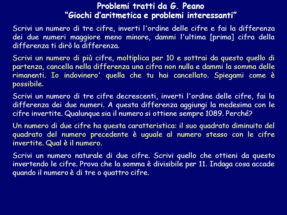 Problemi tratti da G. Peano