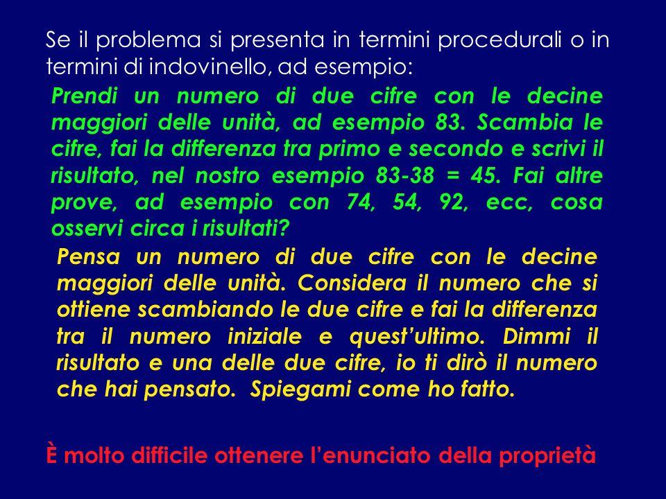 Se il problema si presenta in termini procedurali o in termini di indovinello, ad esempio: