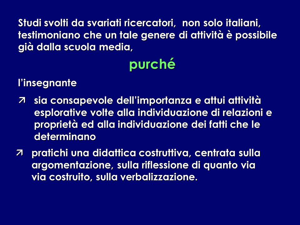 Studi svolti da svariati ricercatori, non solo italiani, testimoniano che un tale genere di attività è possibile già dalla scuola media,