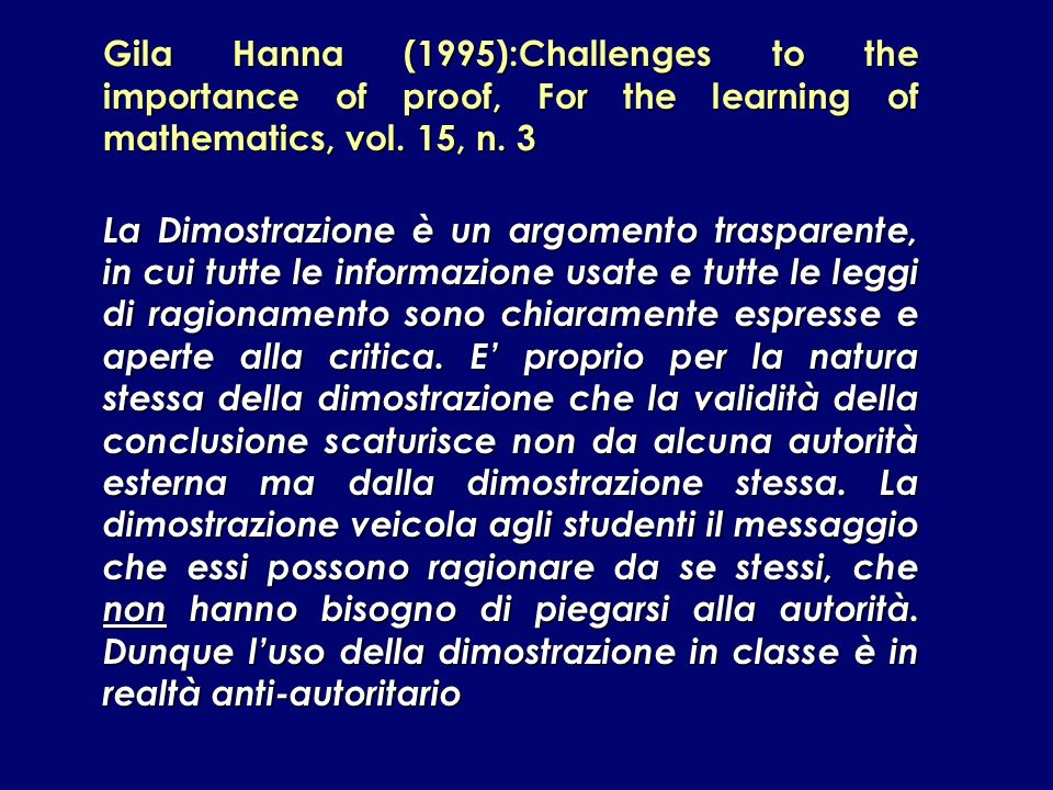 Gila Hanna (1995):Challenges to the importance of proof, For the learning of mathematics, vol. 15, n. 3