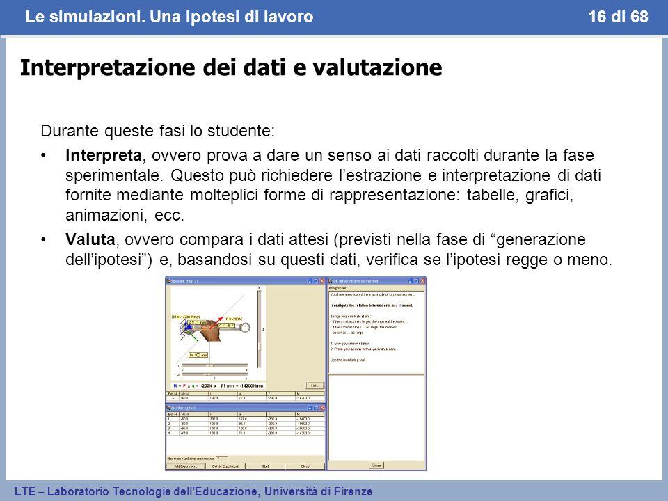 Interpretazione dei dati e valutazione