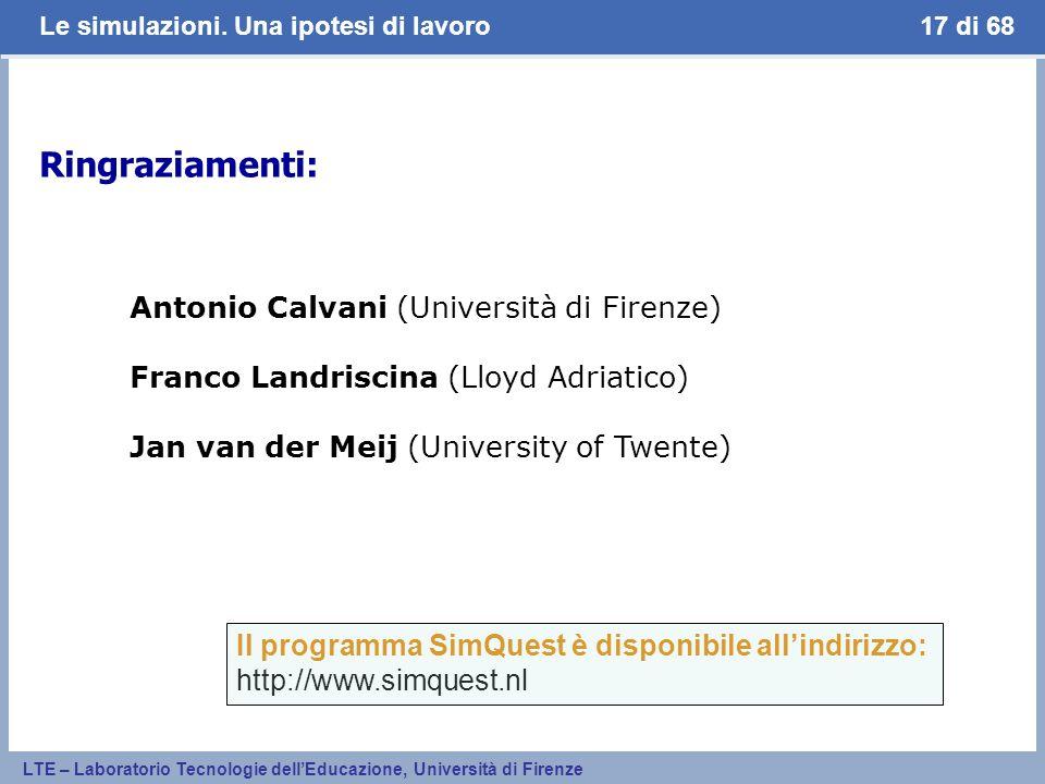 Ringraziamenti: Antonio Calvani (Università di Firenze)