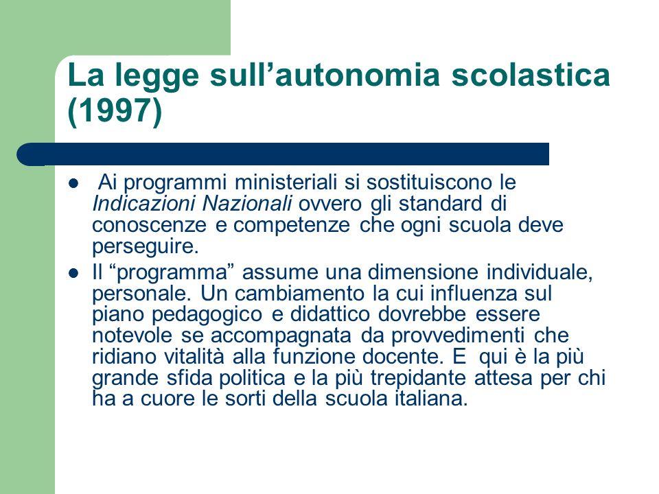 La legge sull'autonomia scolastica (1997)