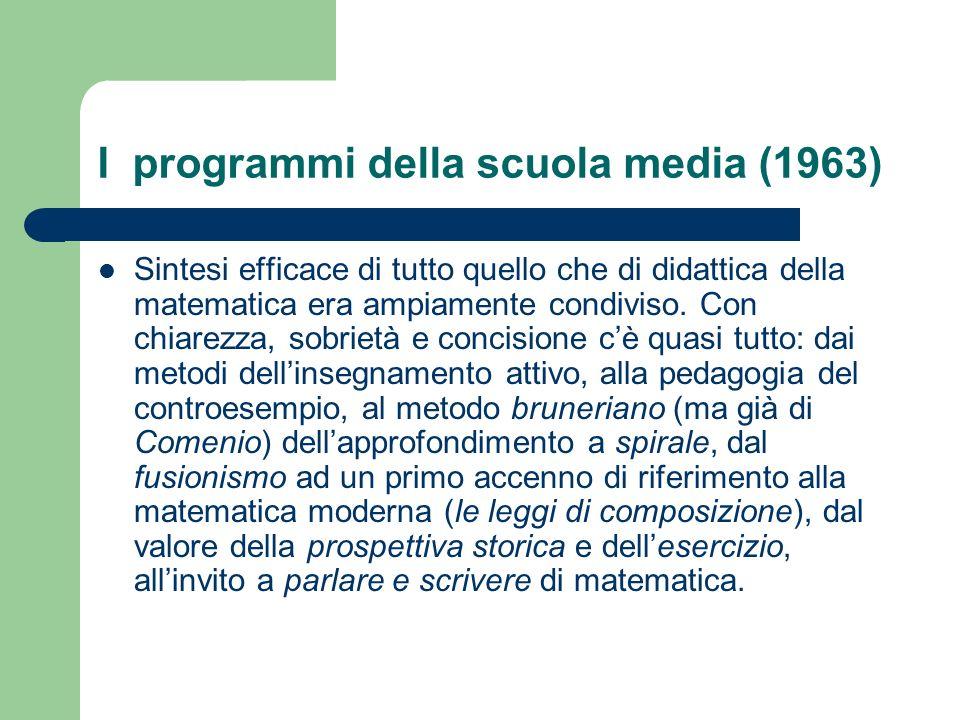 I programmi della scuola media (1963)