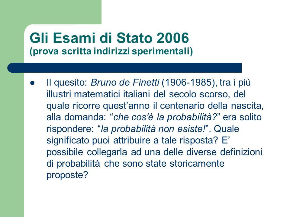 Gli Esami di Stato 2006 (prova scritta indirizzi sperimentali)