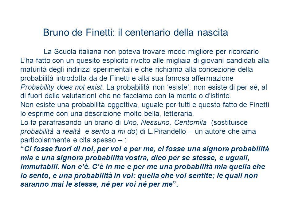 Bruno de Finetti: il centenario della nascita