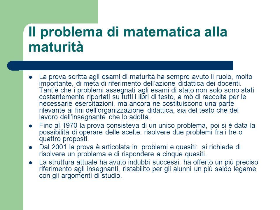 Il problema di matematica alla maturità