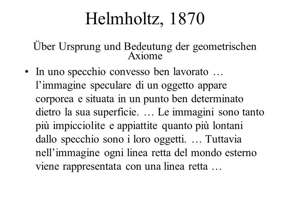 Helmholtz, 1870 Über Ursprung und Bedeutung der geometrischen Axiome