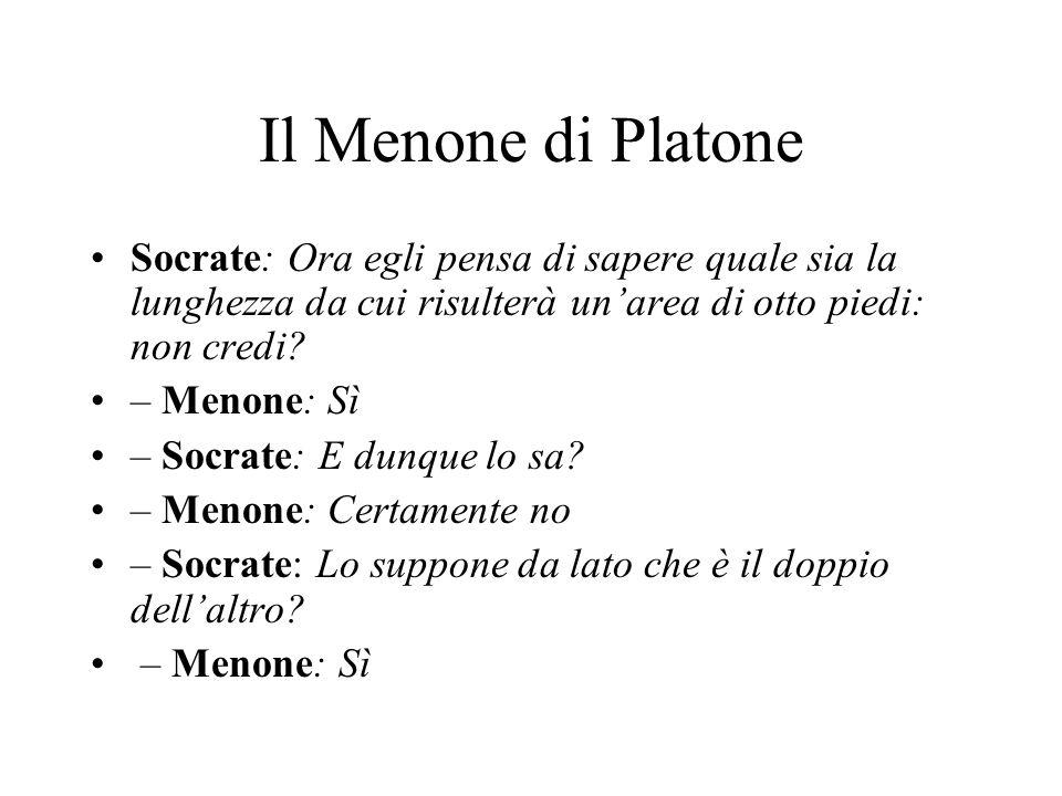 Il Menone di Platone Socrate: Ora egli pensa di sapere quale sia la lunghezza da cui risulterà un'area di otto piedi: non credi