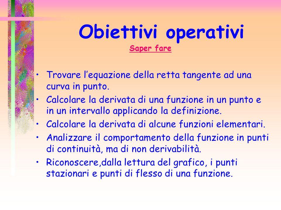 Obiettivi operativiSaper fare. Trovare l'equazione della retta tangente ad una curva in punto.