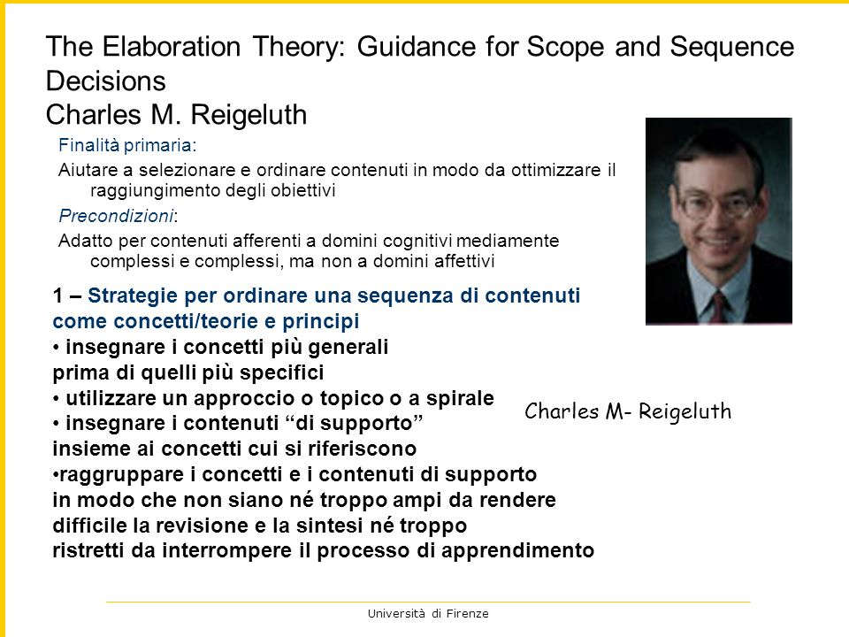 The Elaboration Theory: Guidance for Scope and Sequence Decisions