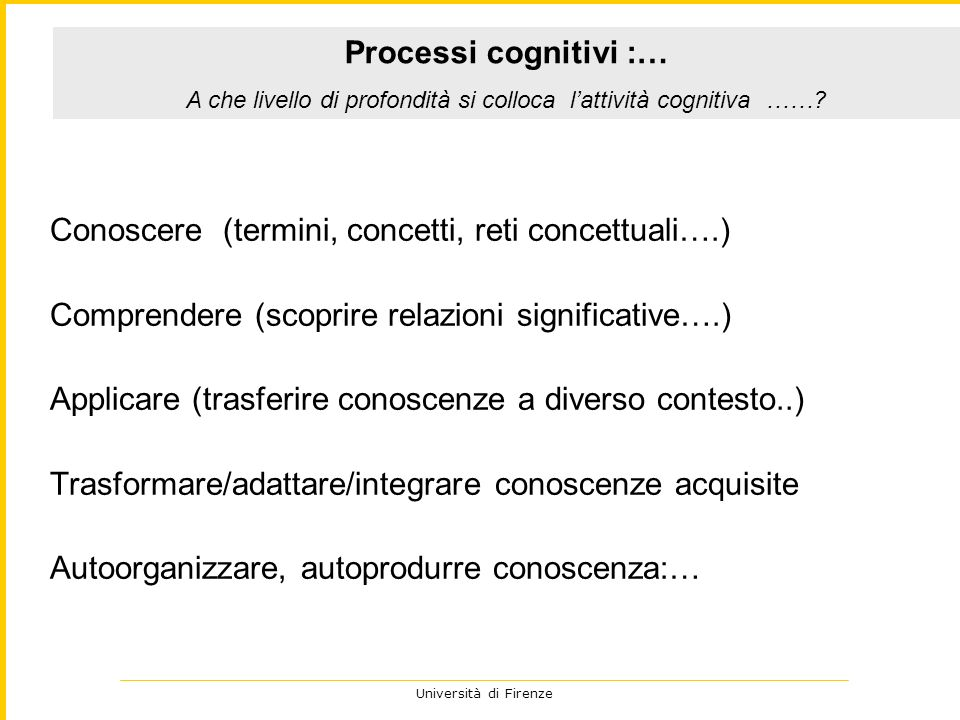 A che livello di profondità si colloca l'attività cognitiva ……