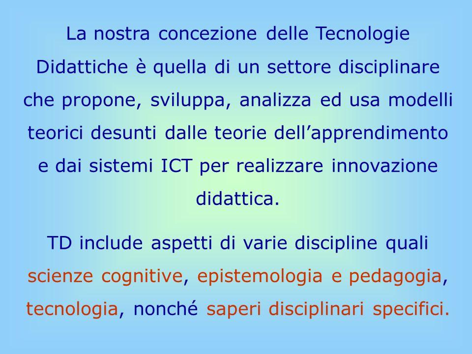 La nostra concezione delle Tecnologie Didattiche è quella di un settore disciplinare che propone, sviluppa, analizza ed usa modelli teorici desunti dalle teorie dell'apprendimento e dai sistemi ICT per realizzare innovazione didattica.