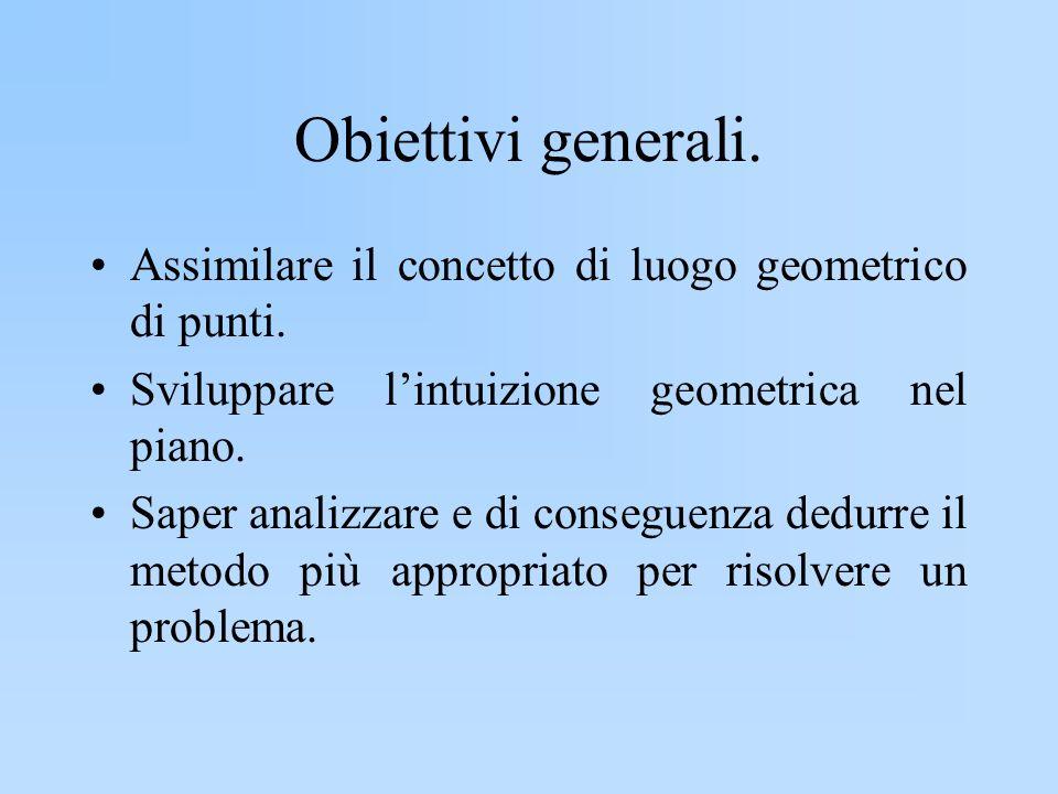 Obiettivi generali. Assimilare il concetto di luogo geometrico di punti. Sviluppare l'intuizione geometrica nel piano.