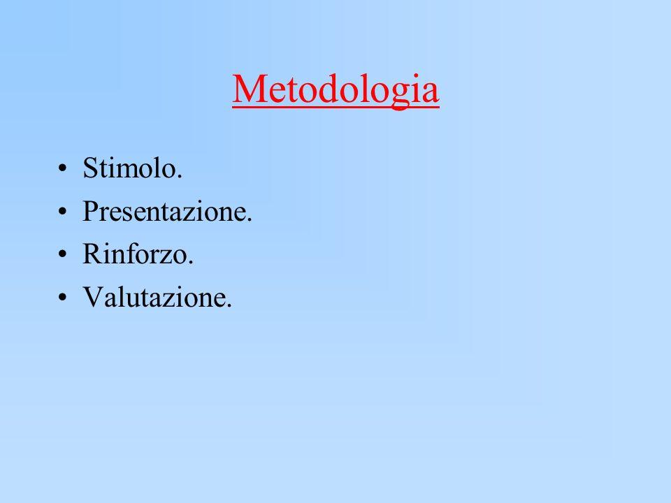 Metodologia Stimolo. Presentazione. Rinforzo. Valutazione.