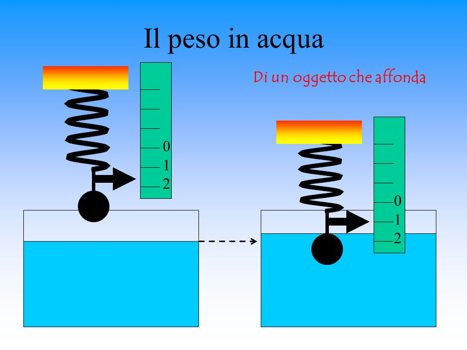 Il peso in acqua Di un oggetto che affonda 1 2 1 2