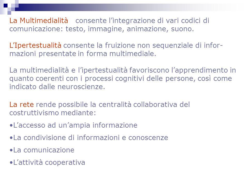 La Multimedialità consente l'integrazione di vari codici di comunicazione: testo, immagine, animazione, suono.