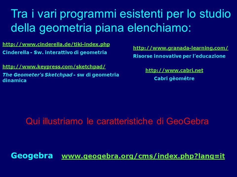 Tra i vari programmi esistenti per lo studio della geometria piana elenchiamo: