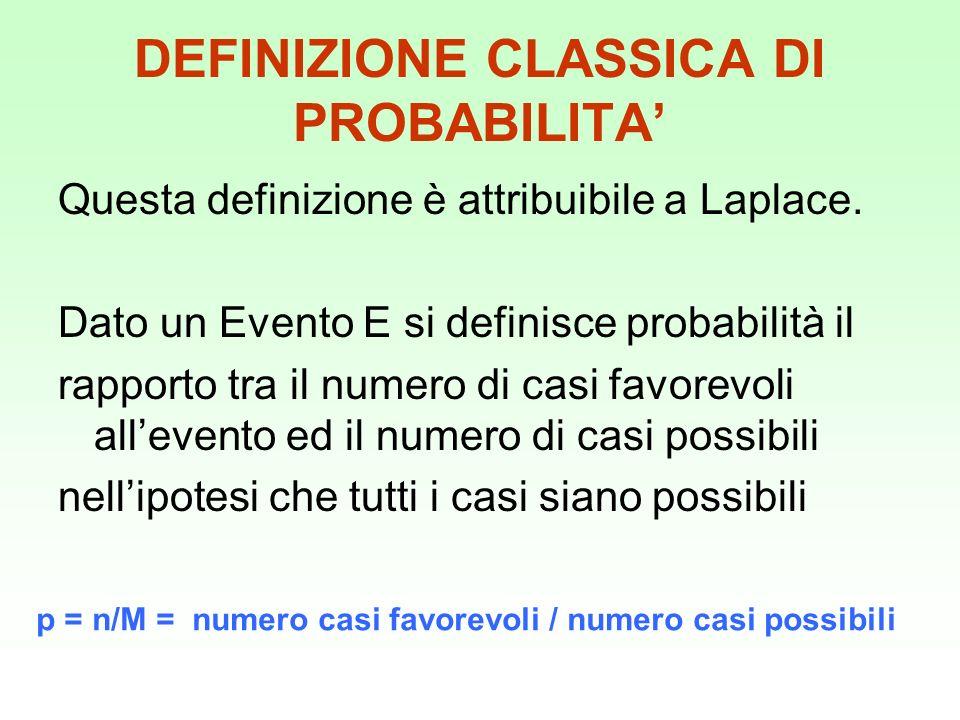 DEFINIZIONE CLASSICA DI PROBABILITA'