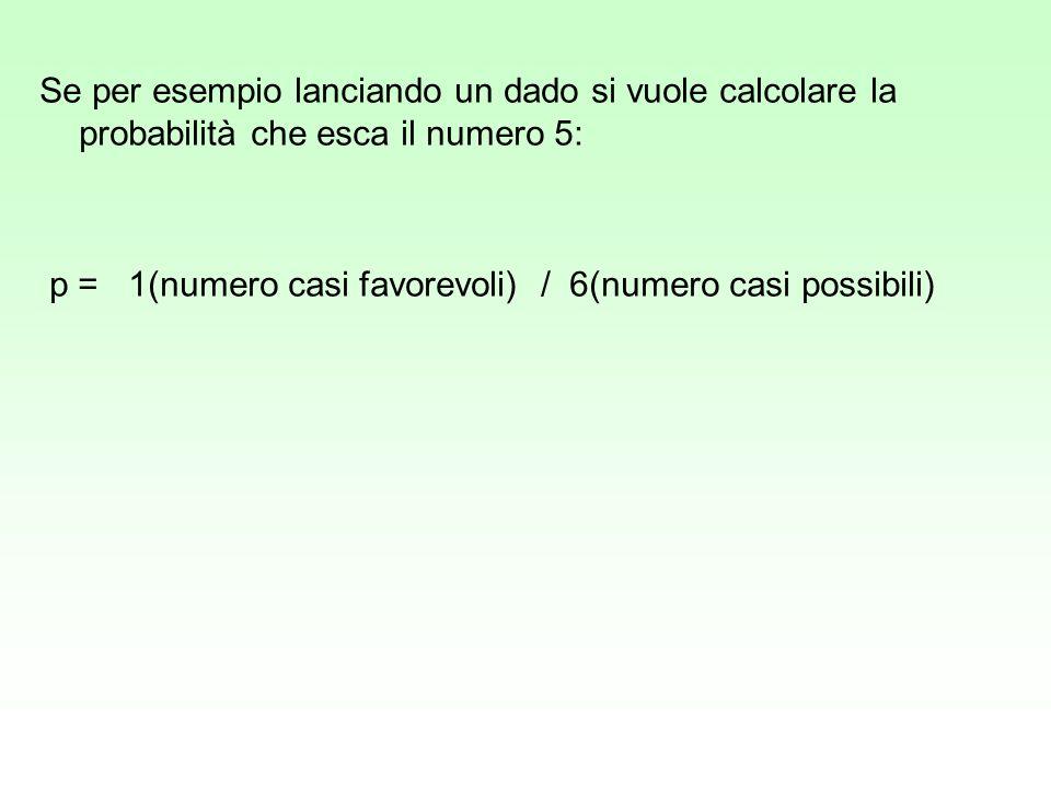 Se per esempio lanciando un dado si vuole calcolare la probabilità che esca il numero 5: