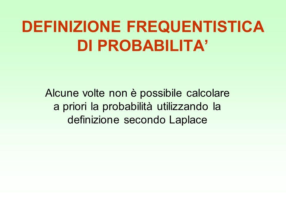 DEFINIZIONE FREQUENTISTICA DI PROBABILITA'
