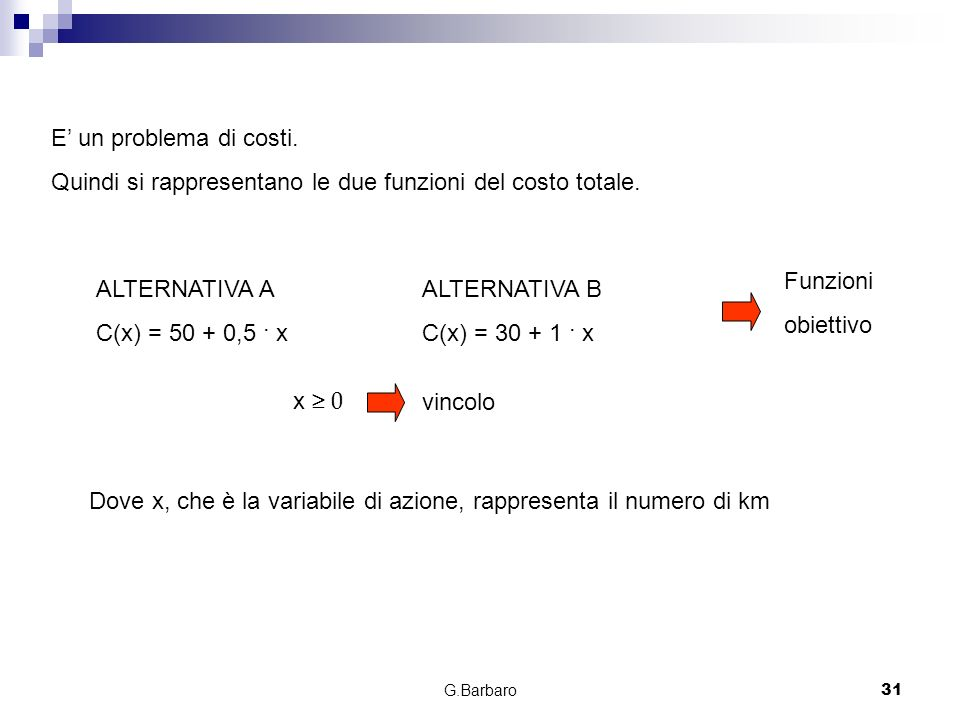 Quindi si rappresentano le due funzioni del costo totale.