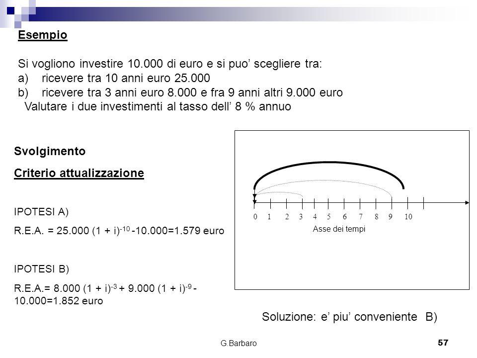 Si vogliono investire 10.000 di euro e si puo' scegliere tra: