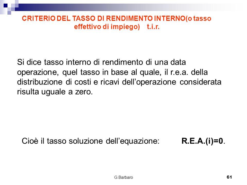 Cioè il tasso soluzione dell'equazione: R.E.A.(i)=0.