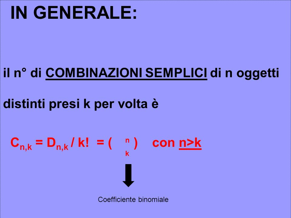 Cn,k = Dn,k / k! = ( ) con n>k