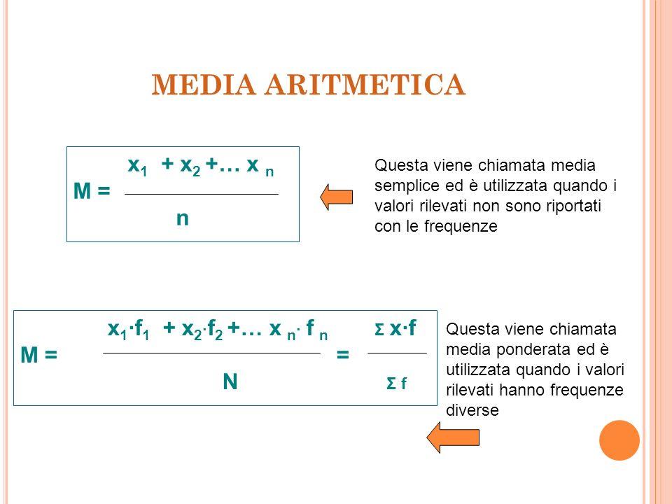 MEDIA ARITMETICA x1 + x2 +… x n M = n x1·f1 + x2·f2 +… x n· f n Σ x·f