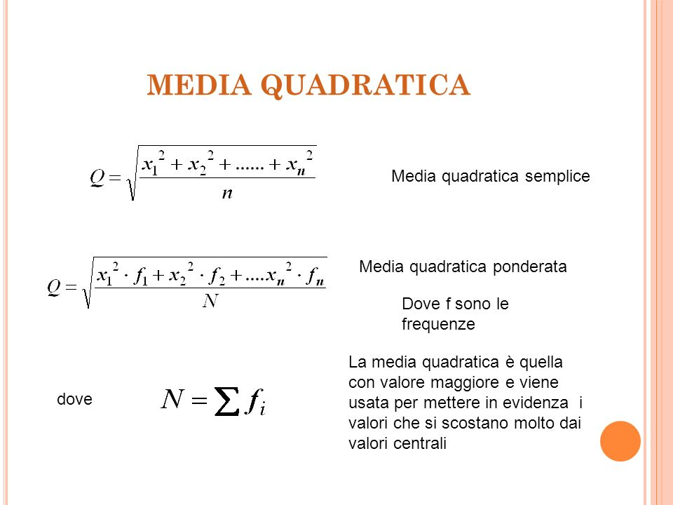MEDIA QUADRATICA Media quadratica semplice Media quadratica ponderata