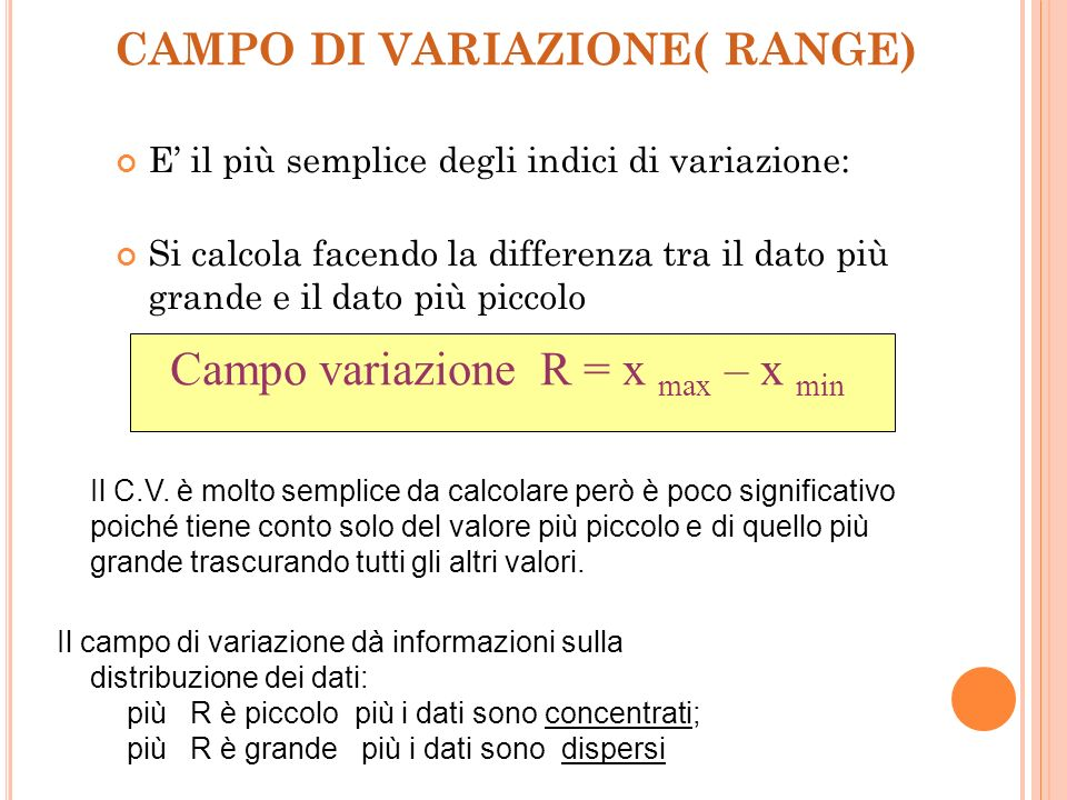 CAMPO DI VARIAZIONE( RANGE)