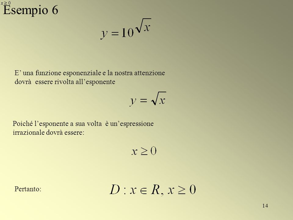 Esempio 6 E' una funzione esponenziale e la nostra attenzione dovrà essere rivolta all'esponente.