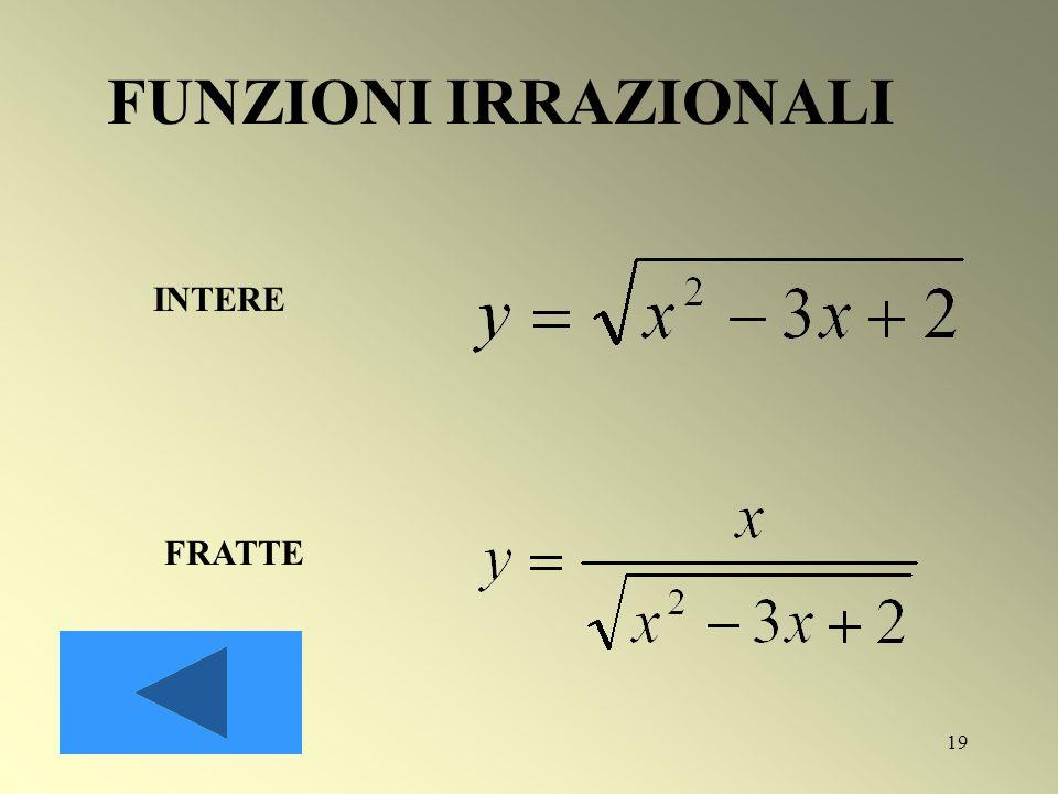 FUNZIONI IRRAZIONALI INTERE FRATTE