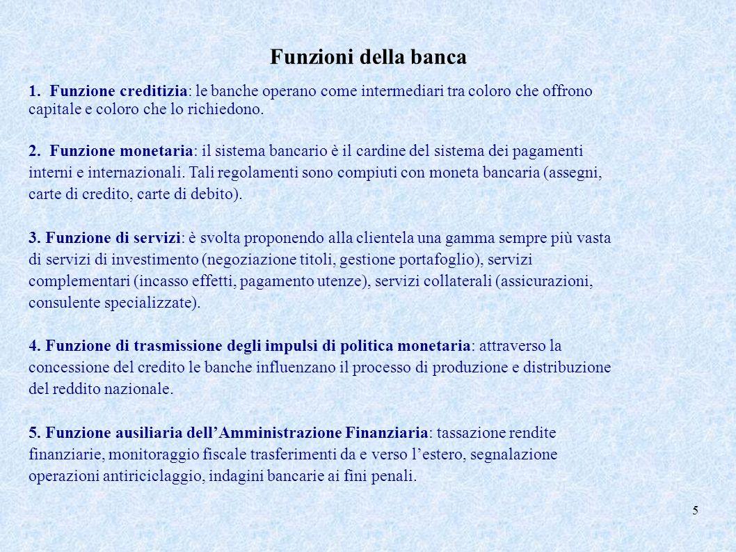 Funzioni della banca 1. Funzione creditizia: le banche operano come intermediari tra coloro che offrono capitale e coloro che lo richiedono.