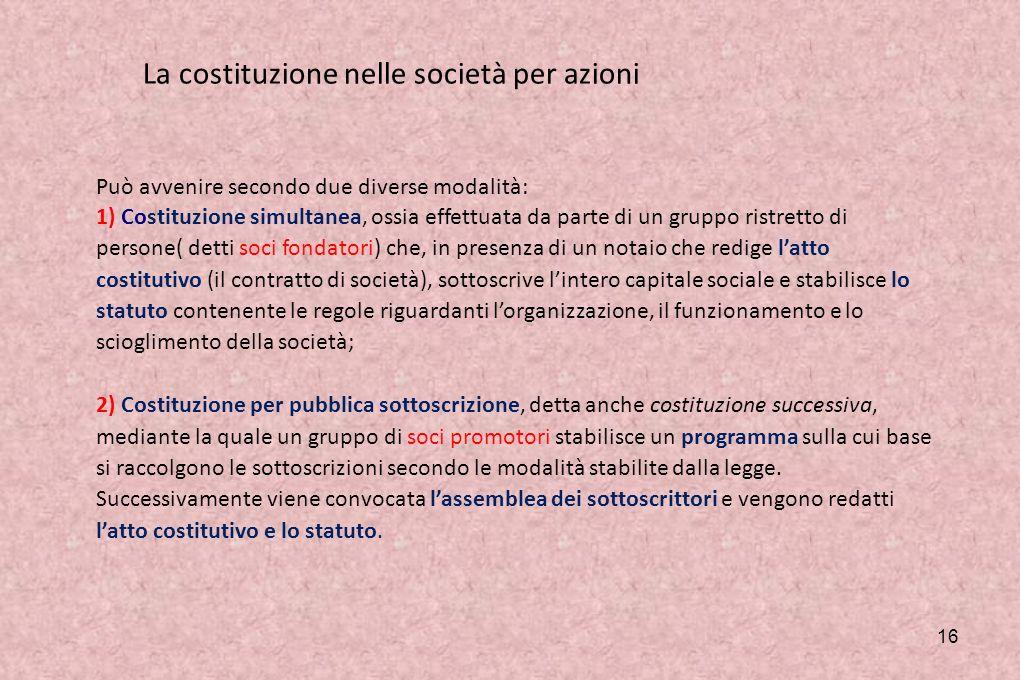 La costituzione nelle società per azioni