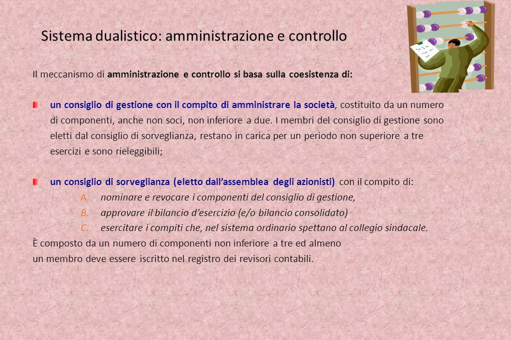 Sistema dualistico: amministrazione e controllo