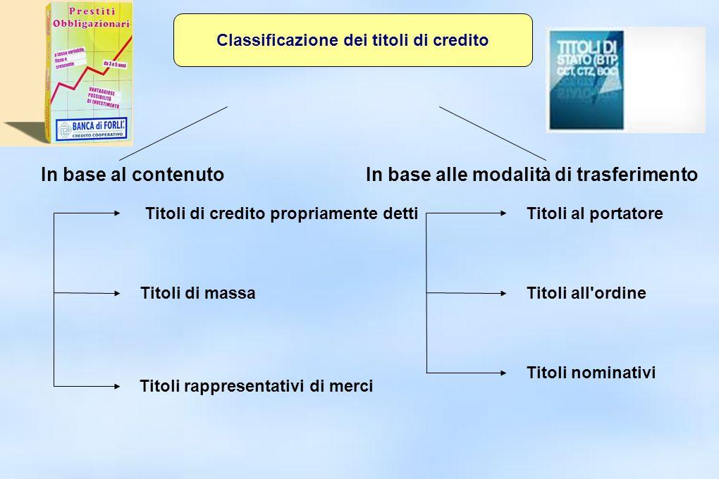 Classificazione dei titoli di credito