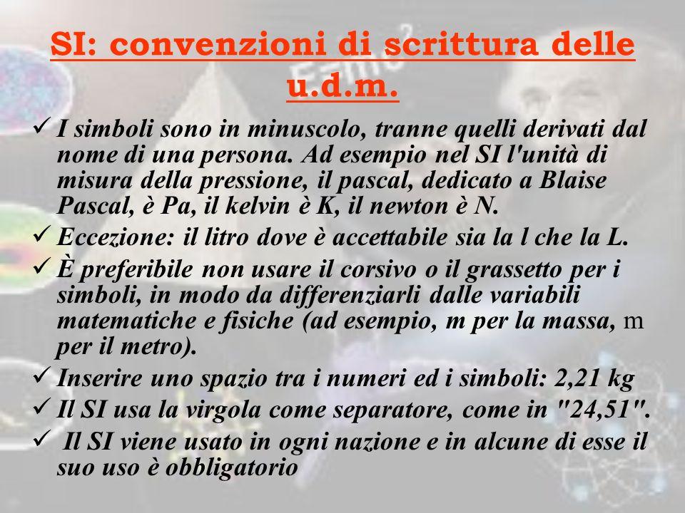 SI: convenzioni di scrittura delle u.d.m.