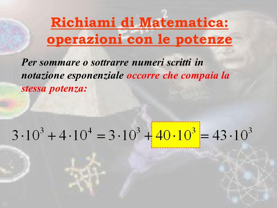 Richiami di Matematica: operazioni con le potenze