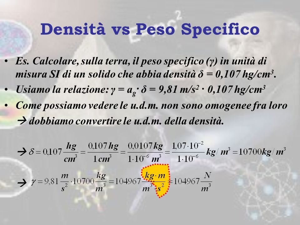 Densità vs Peso Specifico