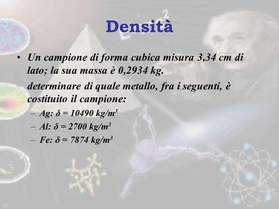 Densità Un campione di forma cubica misura 3,34 cm di lato; la sua massa è 0,2934 kg.