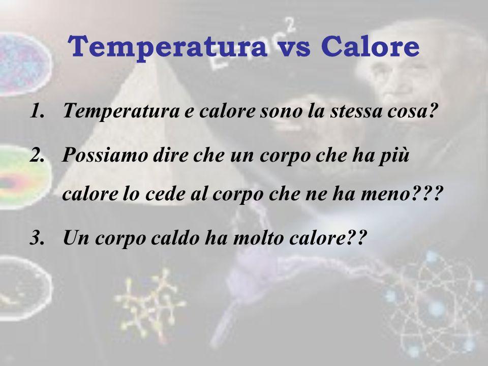 Temperatura vs Calore Temperatura e calore sono la stessa cosa