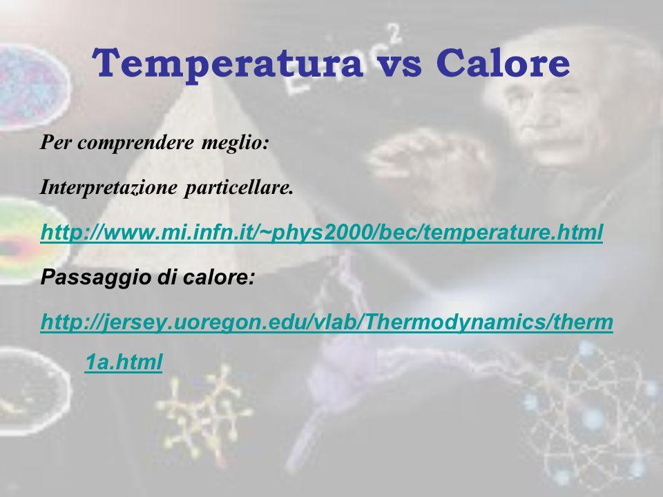 Temperatura vs Calore Per comprendere meglio:
