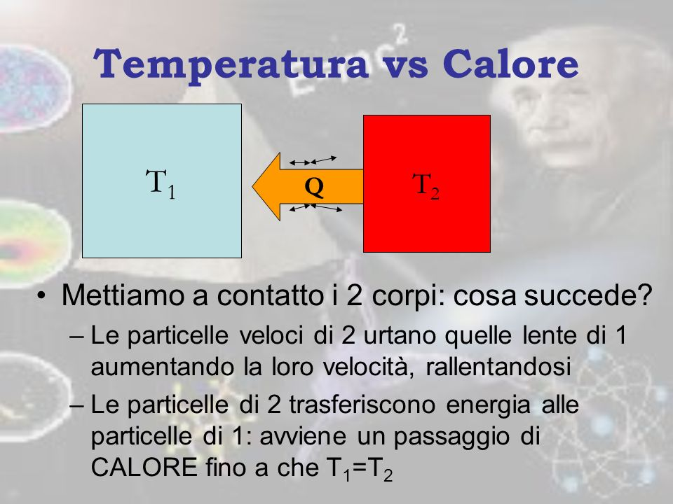Temperatura vs Calore T1 T2